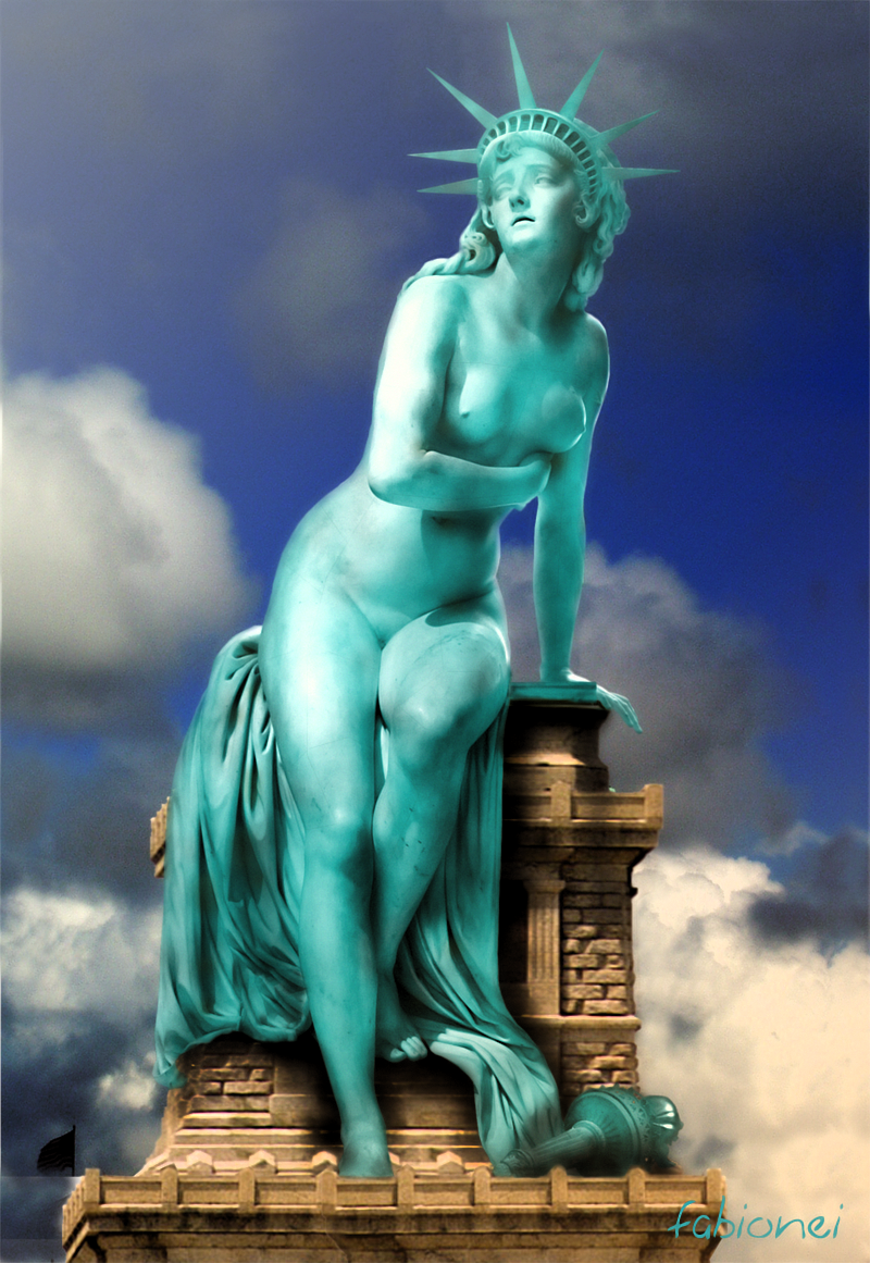 liberty of statue Gay forced to swallow cum